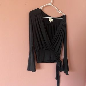Anthropologie black wrapped pullover